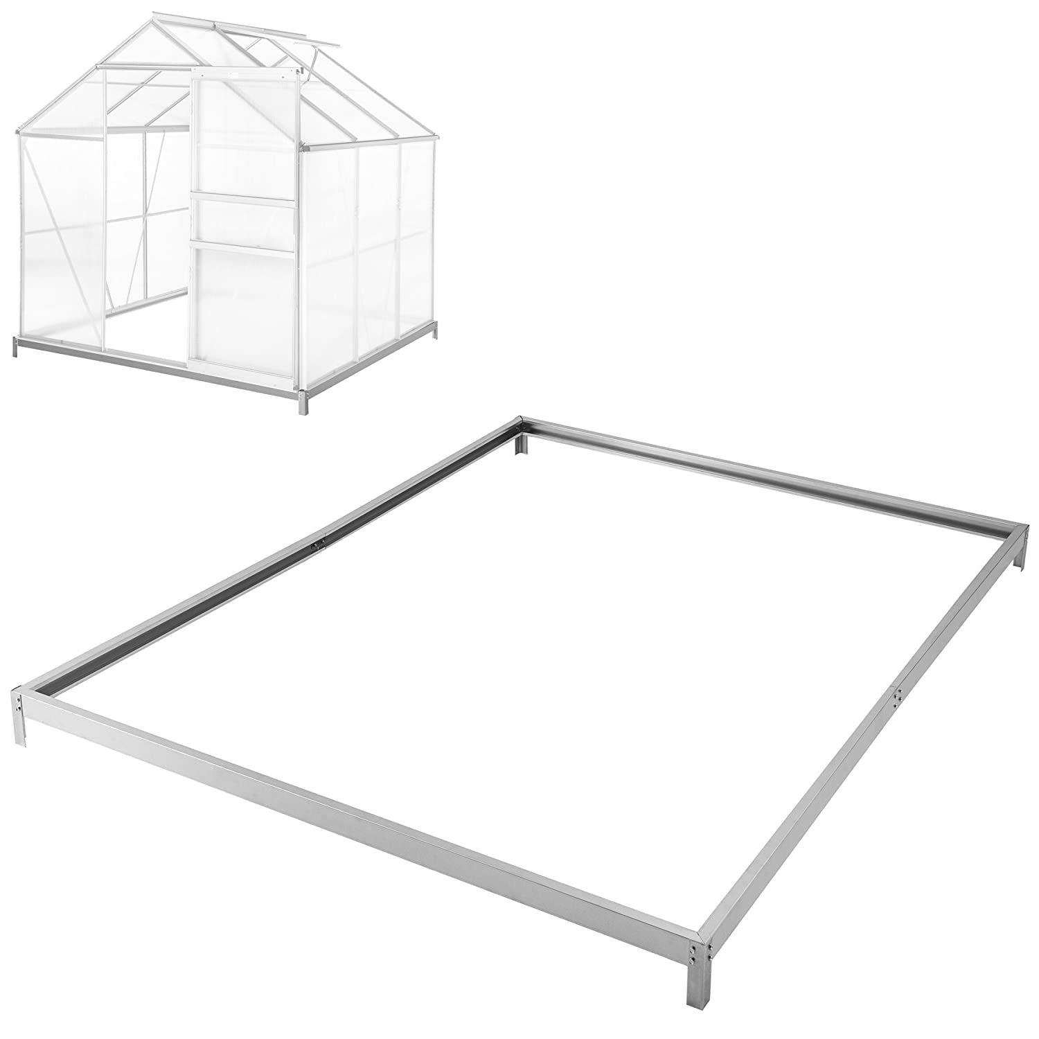 TecTake Greenhouse base foundation 190x190x12 cm steel galvanized frame base fixation