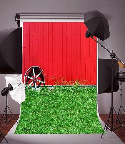 YongFoto 1,5x2,2m Fondo de fotografía Campo Hierba Madera Rojo Rayas Pared Natural país Vida Paisaje Fondos para fotografía Fotos Fiestas Adultos Niños Boda Personal Retrato Foto Fondo Estudio Props: Amazon.es: Electrónica