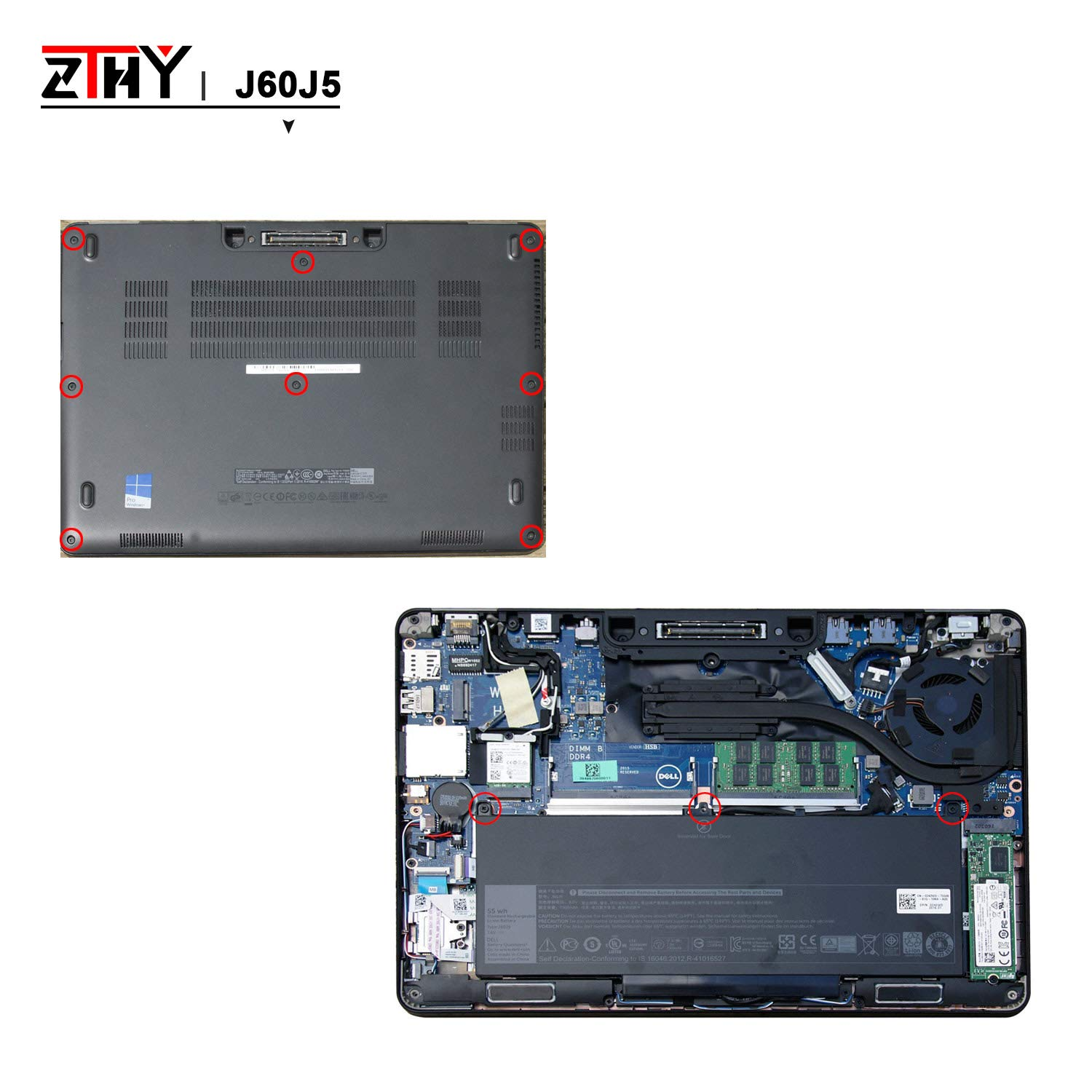 ZTHY J60J5 Laptop Battery Replacement for Dell Latitude E7270 E7470 Series Notebook R1V85 451-BBSX 451-BBSY 451-BBSU MC34Y 242WD PDNM2 7.6V 55WH by ZTHY (Image #7)