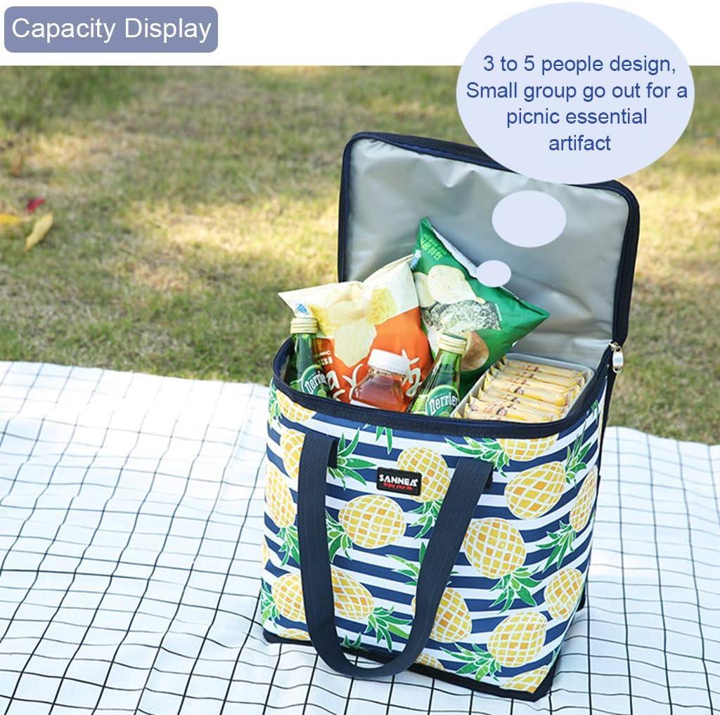 Sac /à Le d/éjeuner r/éutilisable avec papier daluminium isol/é,22L sac de transport imperm/éable pour les enfants et les adultes /à l/école//bureau//pique-nique(Ananas)
