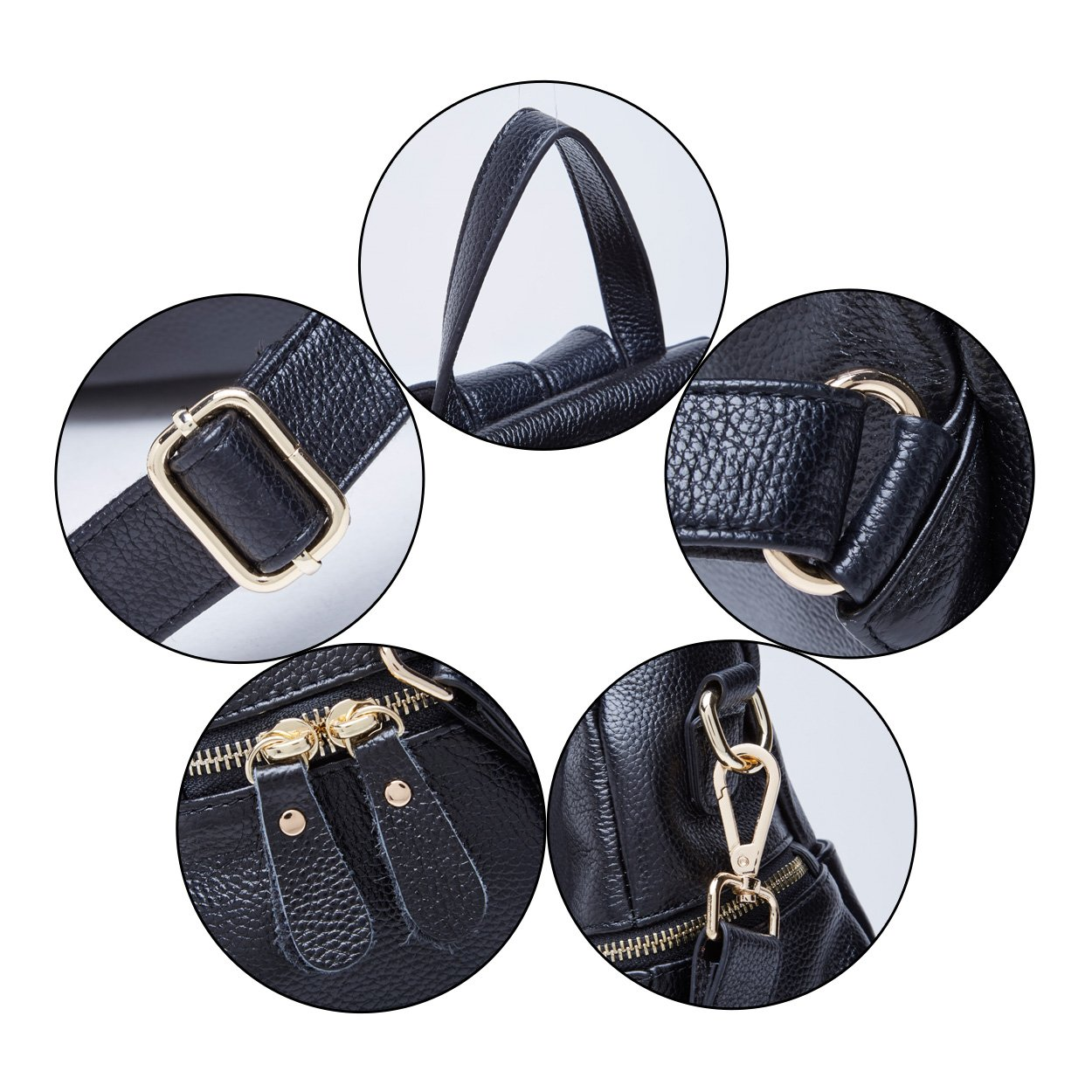 BOYATU Convertible Genuine Leather Backpack Purse for Women Fashion Travel Bag (Black) by BOYATU (Image #6)