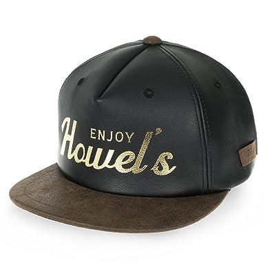 fcf2e61e Howels Faux Leather Letter Printed Flat Bill Baseball Cap Snapback Trucker  Hat, Black