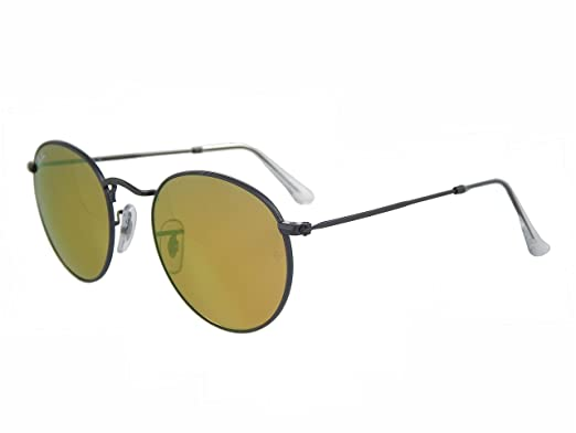 552fdf7929 Amazon.com  New Ray Ban Round RB3447 029 93 Gunmetal Yellow Flash Mirror Lens  50mm Sunglasses  Clothing