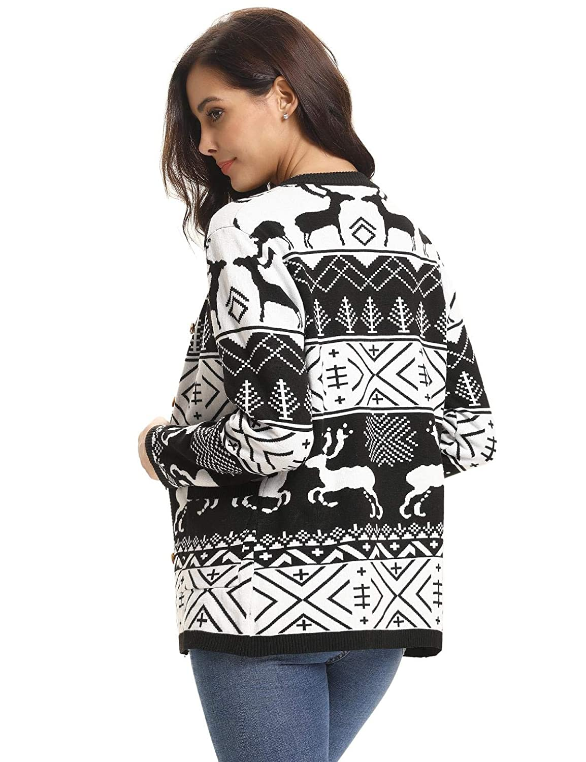 a5af9c34f5 Aibrou Women Christmas Sweater Pullover Reindeer Tree Snowflakes Patterns  Pullover Tops at Amazon Women s Clothing store