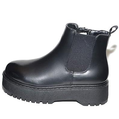 più recente 3031a fe906 Malu Shoes Stivaletto Basso Donna Nero Beatles Fondo Alto ...