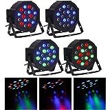 CO-Z DMX Controlled LED Par Light 18x3W RGB DJ PAR 64 Stage Lighting Party Lights (4pcs)