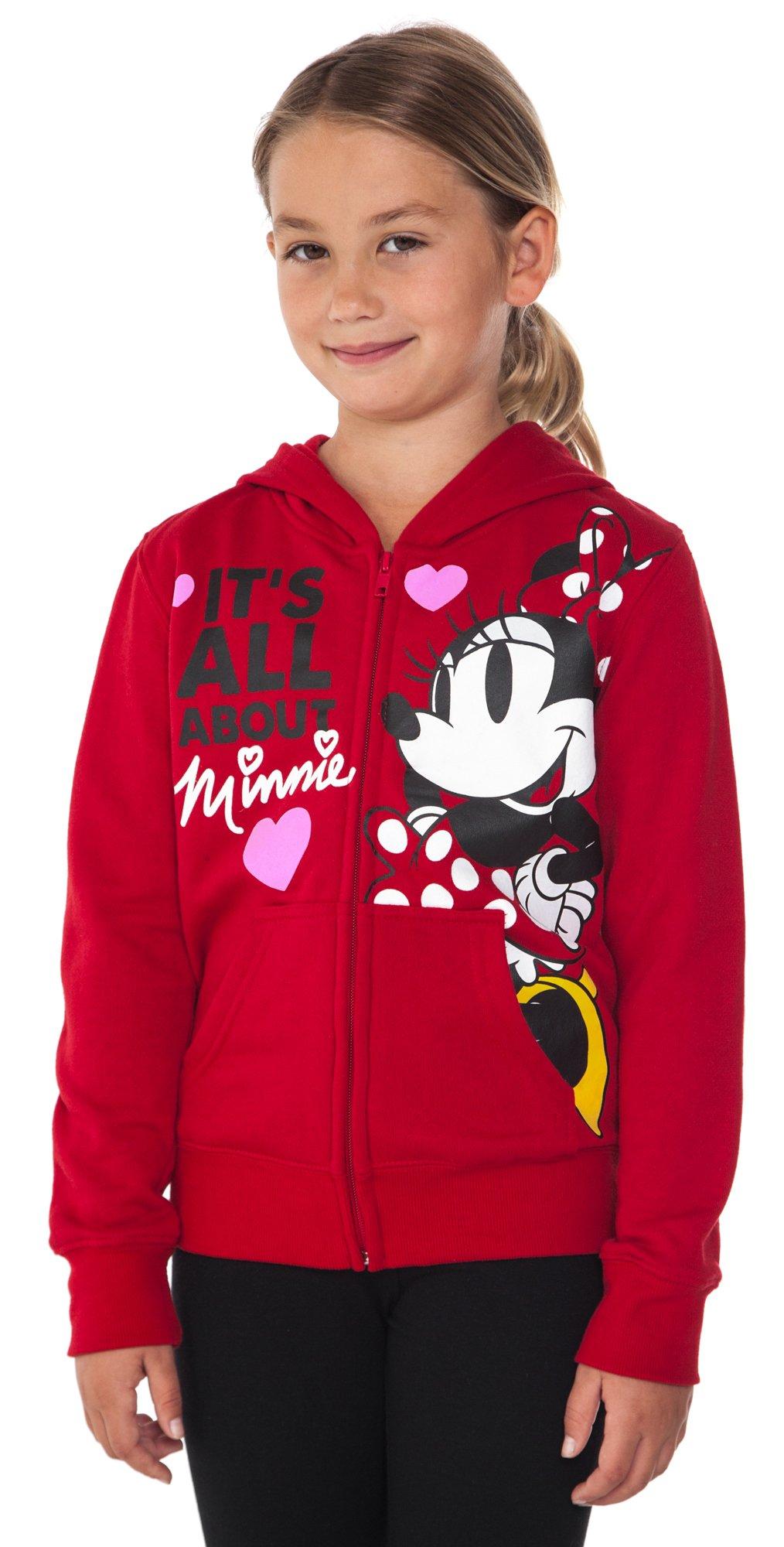 Disney Minnie Mouse Girl's Hoodie Zipper Sweatshirt Print Red (Large (10/12)) by Disney (Image #4)