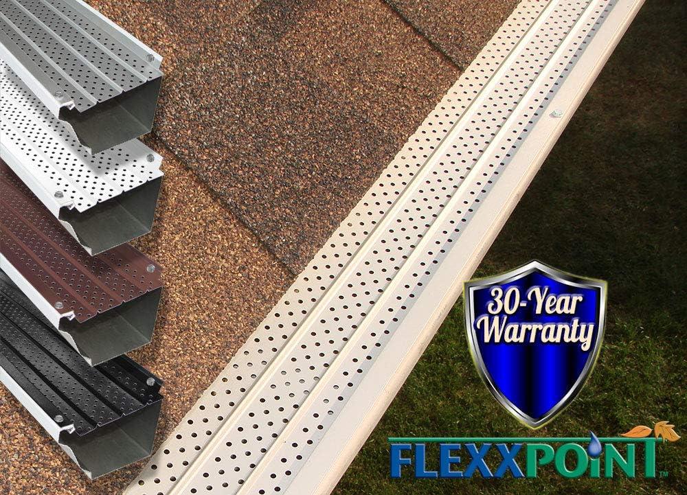 FlexxPoint 30 Year Gutter Cover System White Residential 5 Gutter Guards 22ft