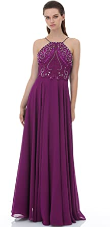 Luxury Beaded Graduation Prom Dresses for College Long Low Back Evening Gown Purple,2