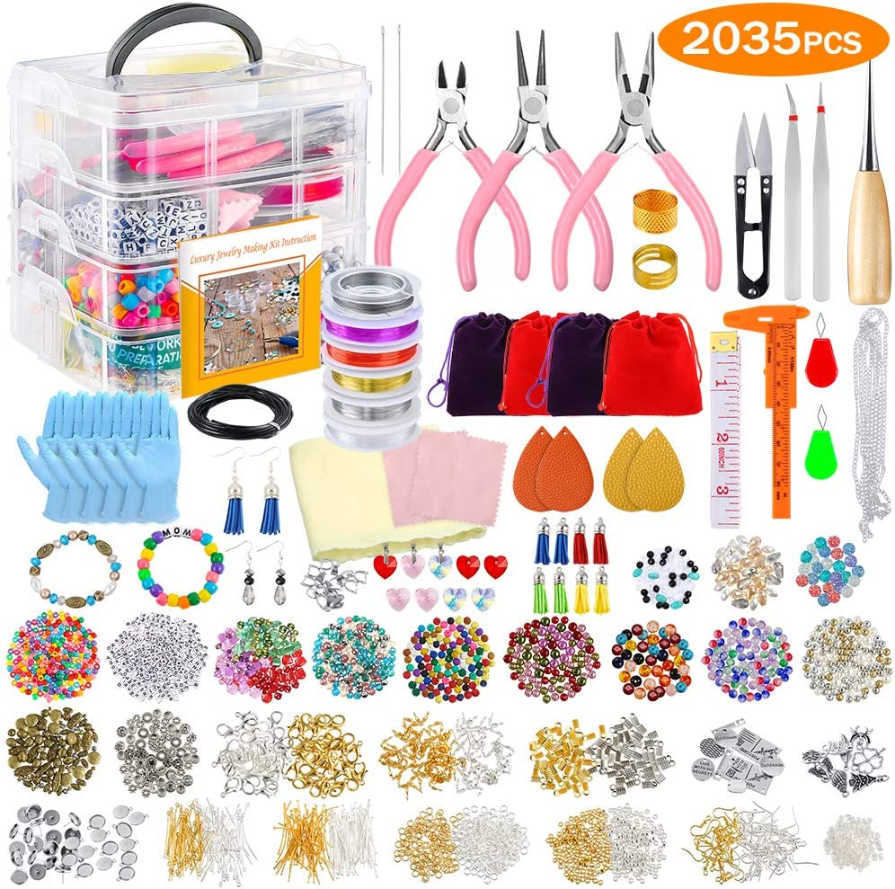 PP OPOUNT Jewelry Making Supplies Jewelry Making Kit with Instructions, Jewelry Beads, Charms, Findings, Jewelry Pliers, Beading Wire for Necklace Bracelet, Earrings Making and Repairing