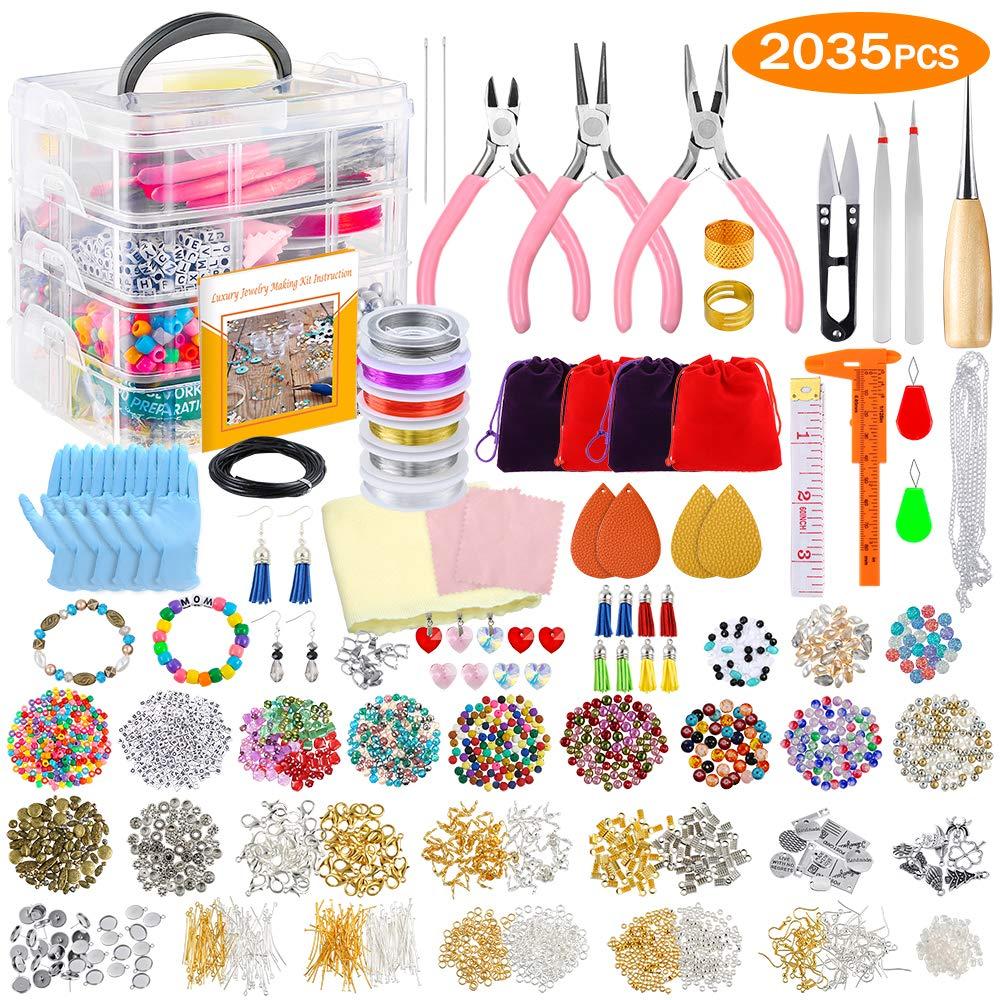 Tweezers Jump Rings Pliers Earring Post PP OPOUNT 1538 Pieces Earring Hooks Making Supplies Kit with Earring Hooks Jump Ring Opener for Earring Making and Earring Repair Assorted Colors