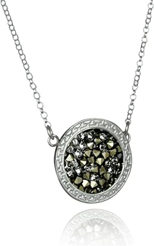 Sterling Silver Antiqued Green Synthetic Crystal Necklace 18 Inch