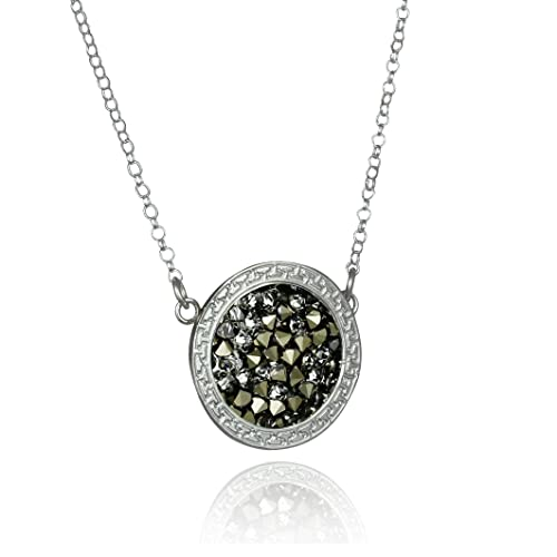 Stera Jewelry Decorative Sterling Silver Dazzling Pav Crystal Rock Pendant Necklace, 18 4 Inches