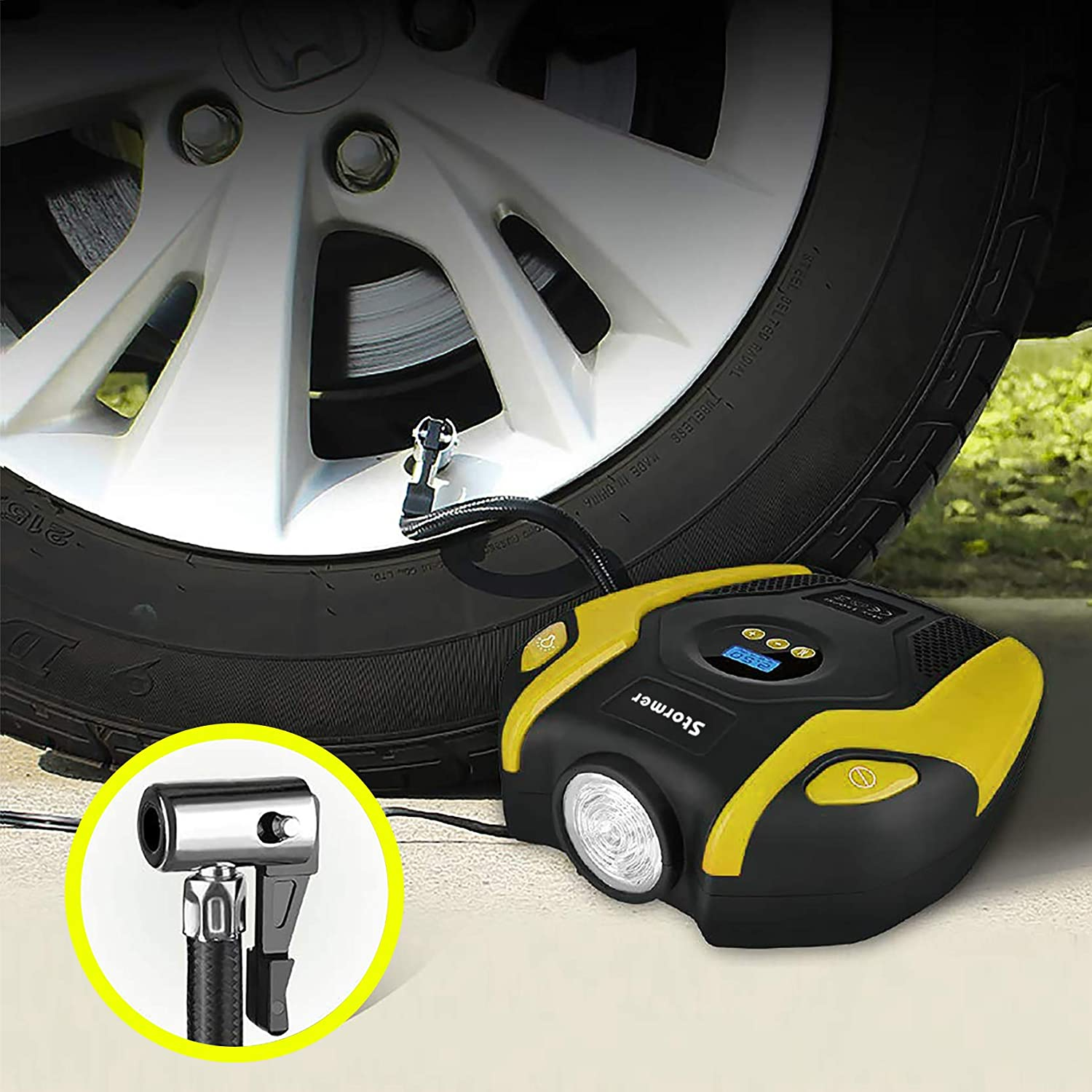 Bicycle and Other Inflatable /… Tire Inflator STORMER Air Compressor Pump 12V DC Portable Auto Tire Pump with Digital Display up to 151PSI for Car