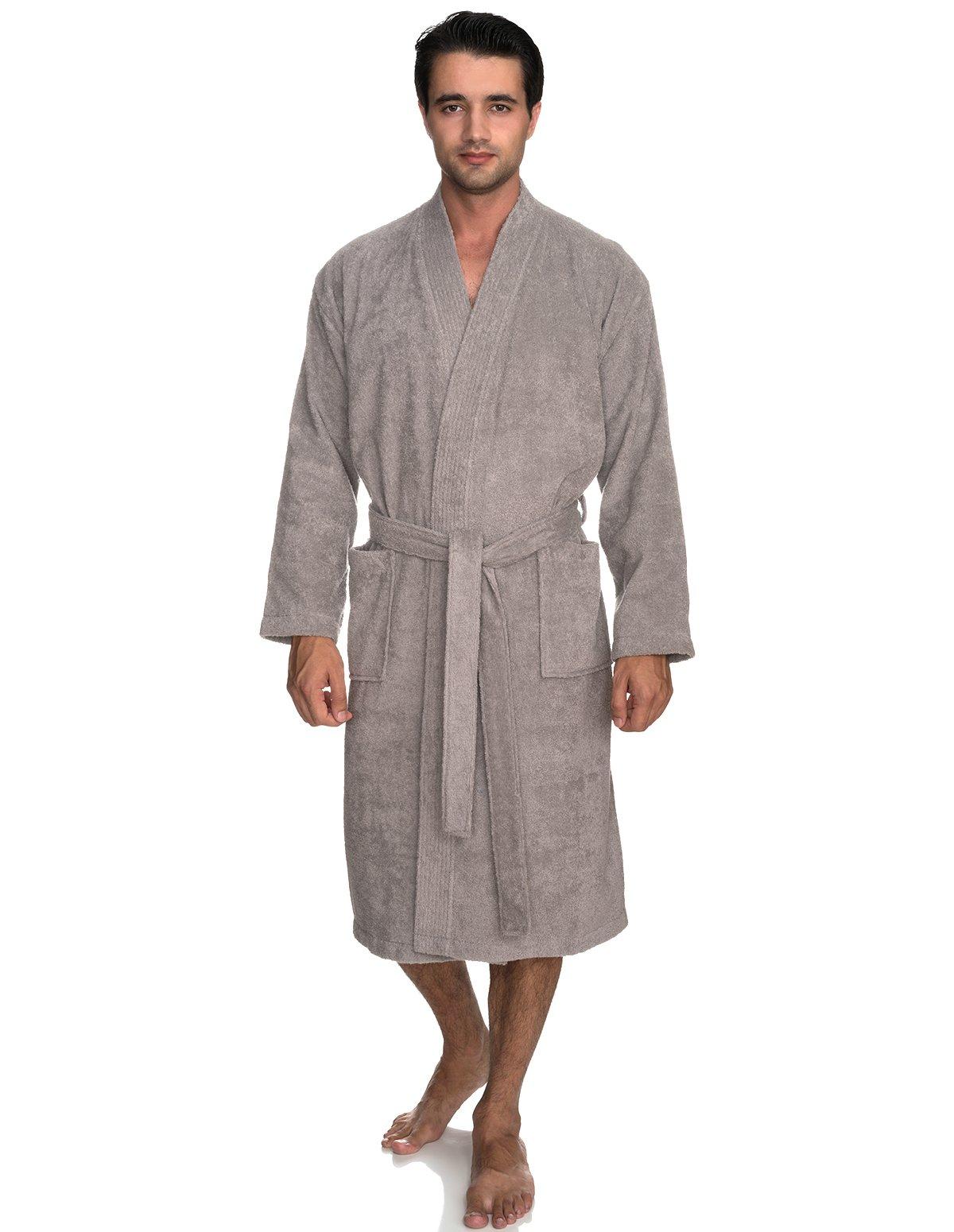 TowelSelections Men's Robe, Turkish Cotton Terry Kimono Bathrobe Large/X-Large Paloma Gray