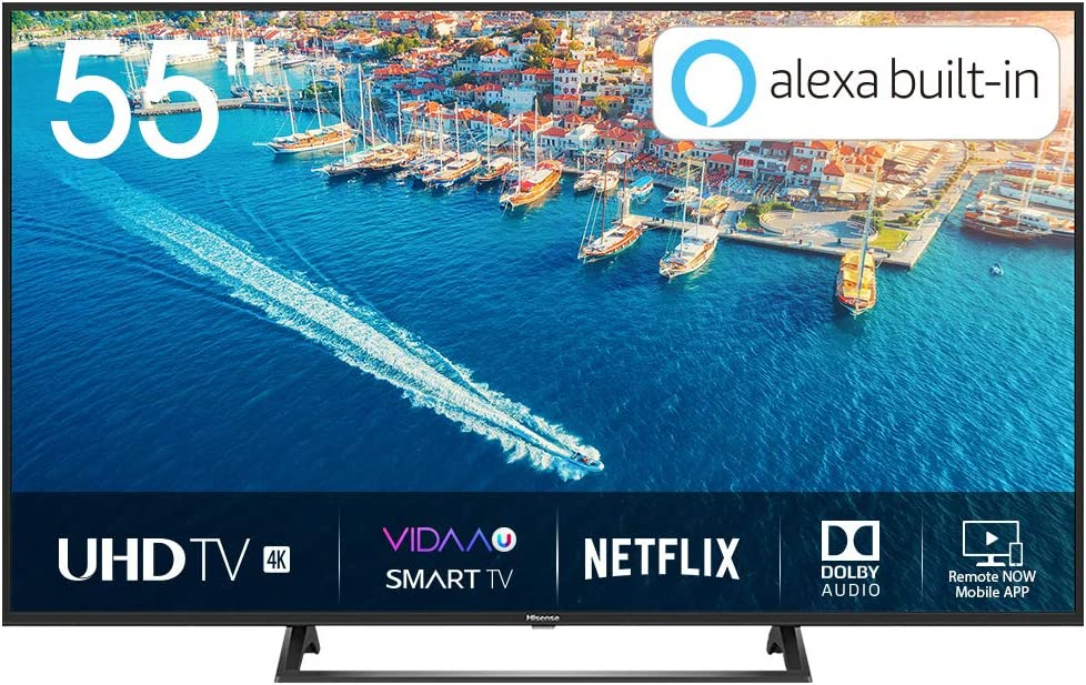 Hisense H55BE7200 - Smart TV 55 4K Ultra HD con Alexa Integrada, Wifi, HDR, Dolby DTS, Peana Central, Procesador Quad Core, Smart TV VIDAA U 3.0 con IA, compatible con dispositivos Echo: