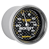 AutoMeter 200774-40 Marine Mechanical Vacuum/Boost Gauge 2-1/16 in. Carbon Fiber Dial Face Silver Pointer White Incandescent Lighting Mechanical 30 IN HG/20 PSI Marine Mechanical Vacuum/Boost Gauge