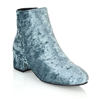 90e76570844d ESSEX GLAM Womens Grey Velvet Flat Heel Zip Ankle Chelsea Boots 5 B(M)