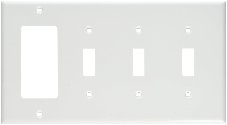 White Standard Size Leviton 80732-W 4-Gang 3-Toggle 1-Decora//GFCI Device Combination Wallplate Device Mount Thermoplastic Nylon