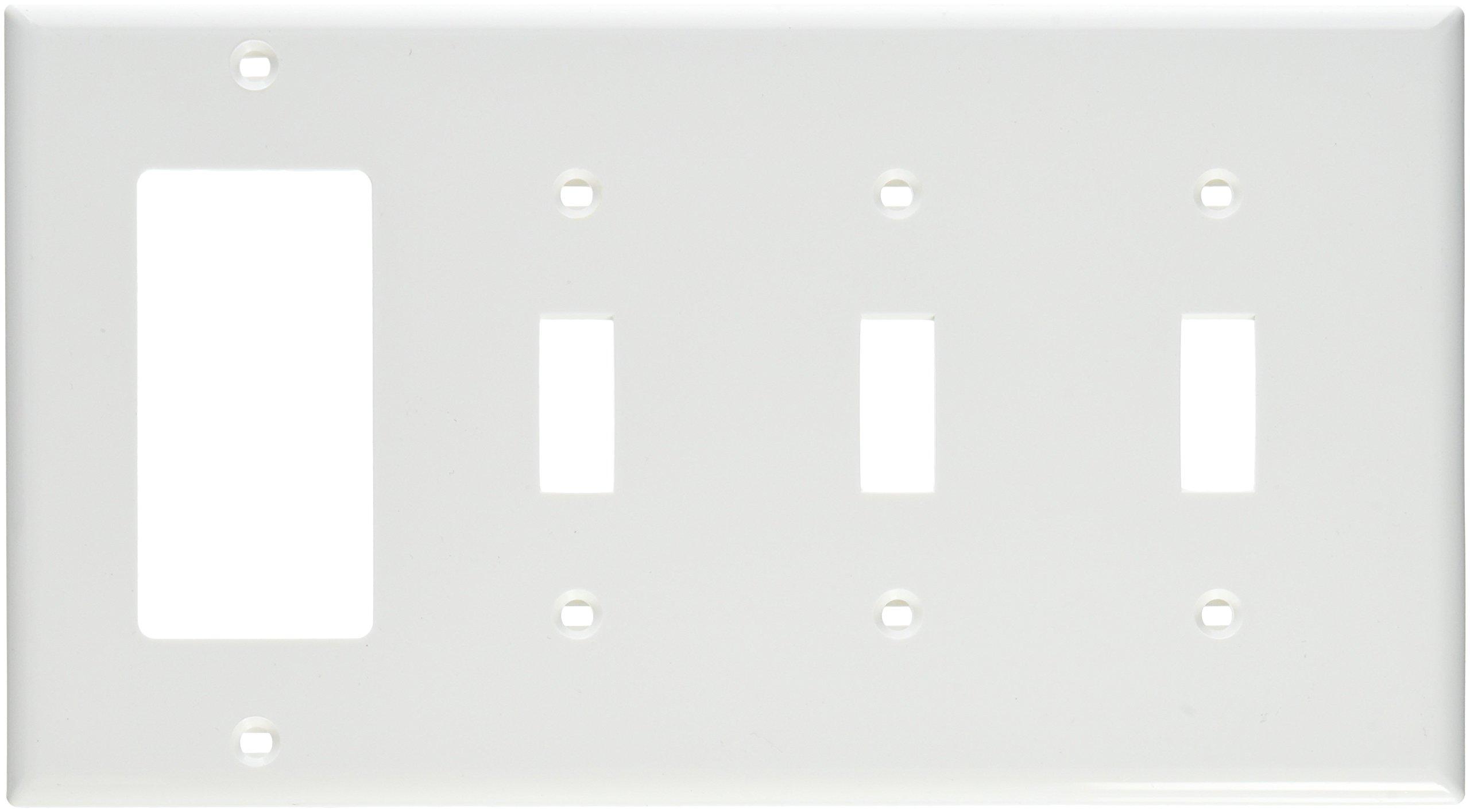 Leviton 80732-W 4-Gang 3-Toggle 1-Decora/GFCI Device Combination Wallplate, Standard Size, Thermoplastic Nylon, Device Mount, White