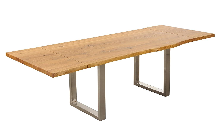 Tisch mit Baumkante Baumtisch 180(260)x100cm 'Amber II' Wildeiche massiv geölt Holz