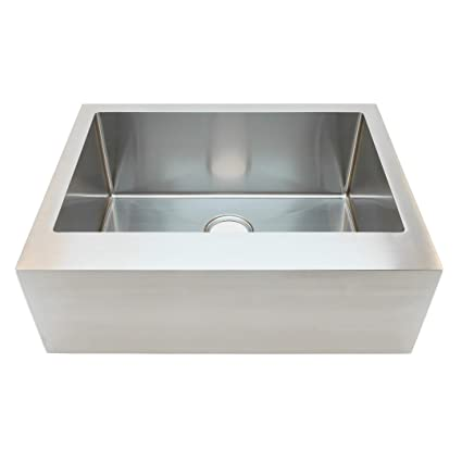 Auric Sinks 30u0026quot; Stainless Steel Farmhouse Sink, Flat Front, 9u0026quot;  Apron,