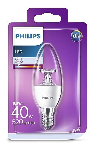 Philips Vela Bombilla LED, 40 W, casquillo E14 5.5 W, Blanco