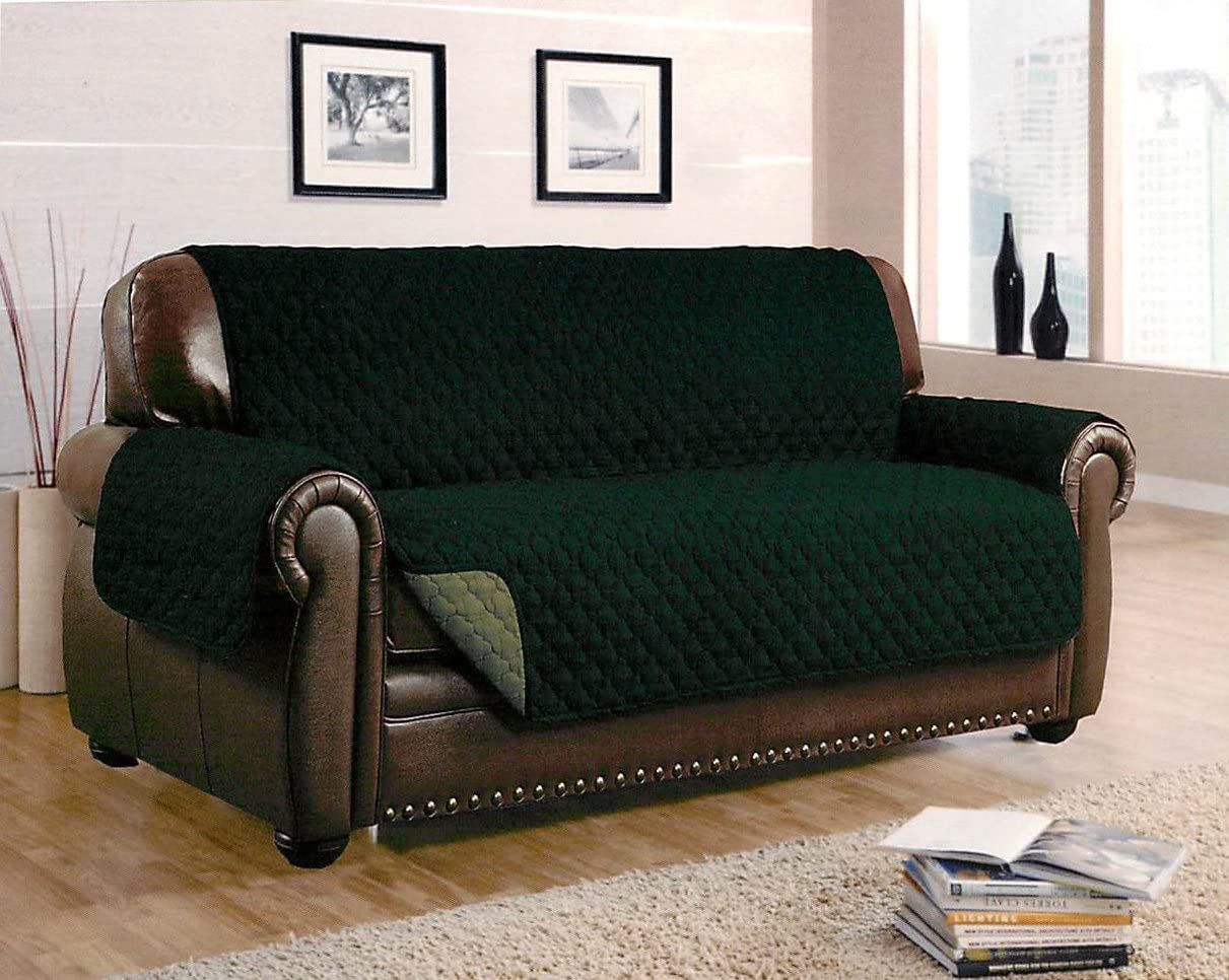 Dormire Reversible Quilted Furniture Protector with Elastic Strap for Sofa - Machine Washable - 70