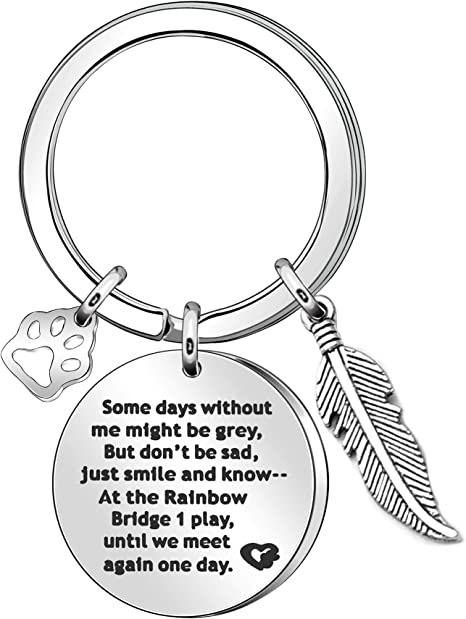 Pet Memorial Keyring Gift Silver Pendant Keychain Key Chain Ring For Women Men Christmas Birthday Gift Amazon Co Uk Luggage