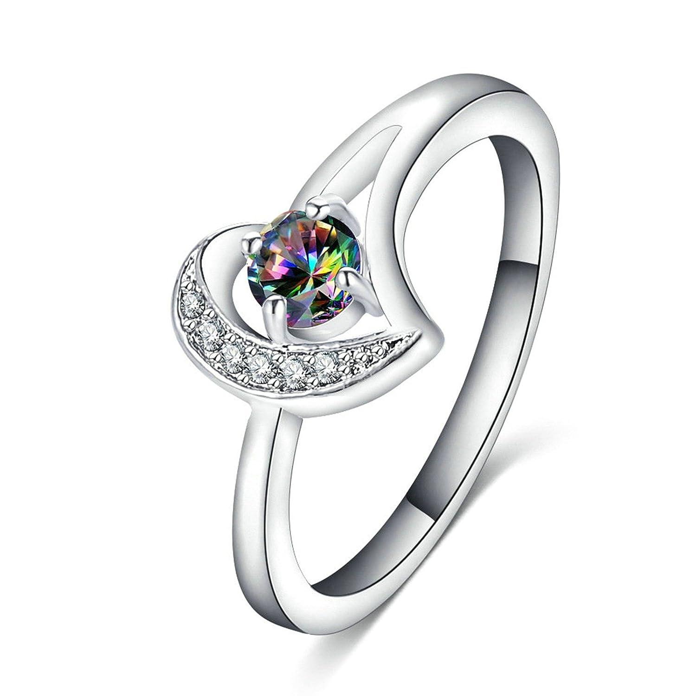 ANAZOZ Gold Plated Mysterious Rainbow Zirconia Heart Wedding Engagement Rings
