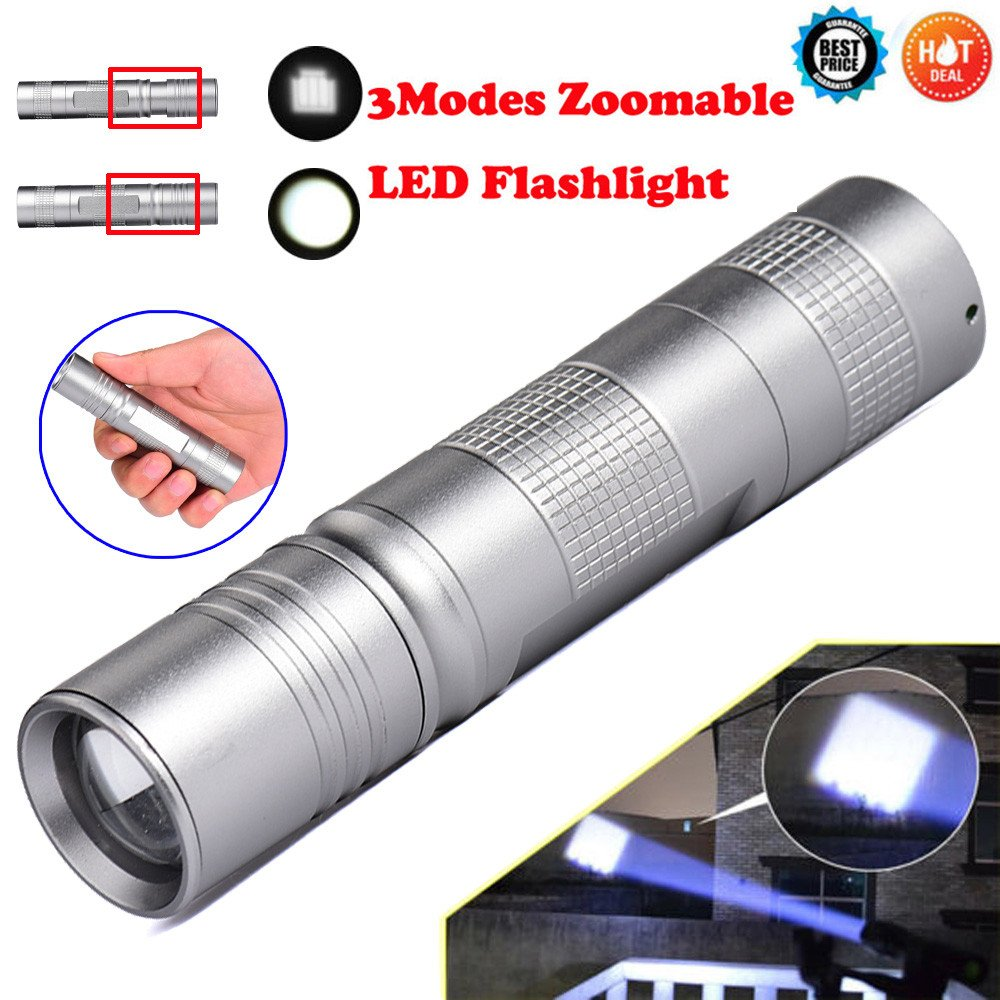 """More_buy FS202-Portable Q5 LED 18650 Mini Flashlight Torch Lamp Light Silver Portable Outdoor Aluminum Body, Water Resistant """
