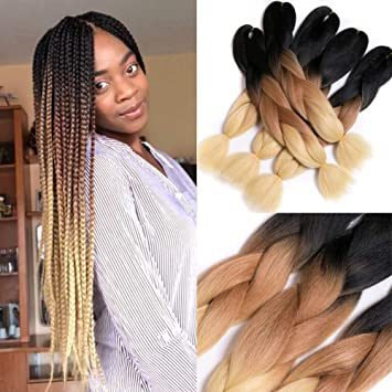 Verves Braiding Hair 5 Piece/pack 24 Synthetic Jumbo Braids 100g/piece Ombre Color Kanekalon Fiber Hair Extensions Clients First Hair Extensions & Wigs