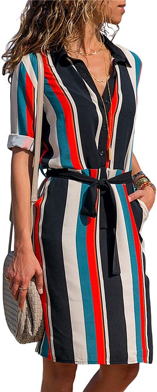 Dress Women Striped Print Lace Up Beach Dress Elegant Party Dresses,Orange,XXL