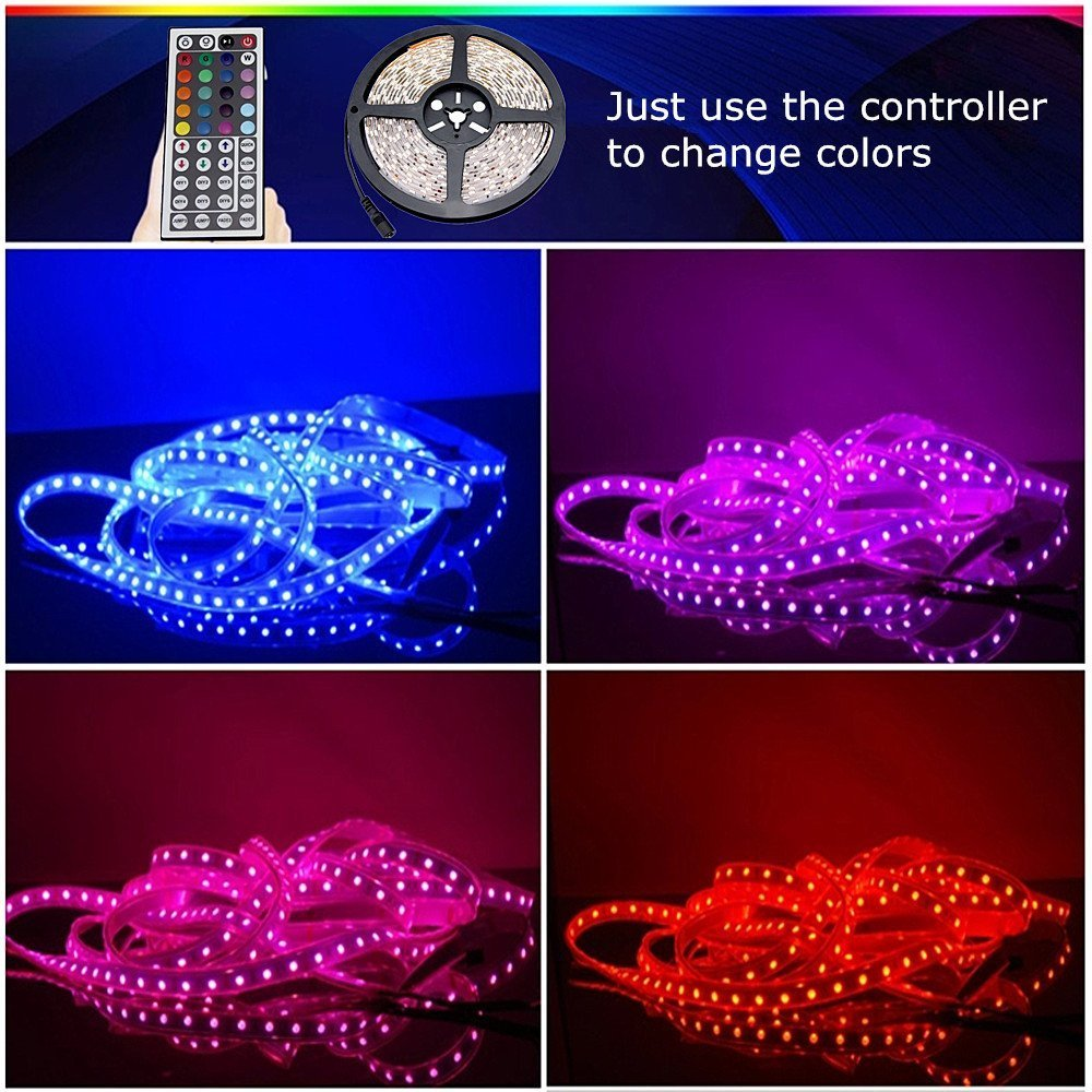 CARYLED 16.4ft 5M Waterproof Rope Lights 300 LED 5050 SMD Color Changing RGB Flexible LED Strip Light + 12V 6A Power Supply + Remote + IR Controller Muliticolored by CYLED (Image #2)