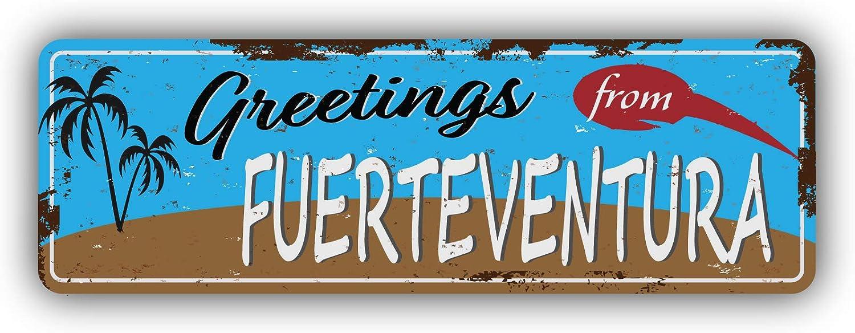 Self-Adhesive Sticker Car Window Bumper Vinyl Decal Hochwertiger Aufkleber Greetings from Fuerteventura City Vintage Emblem