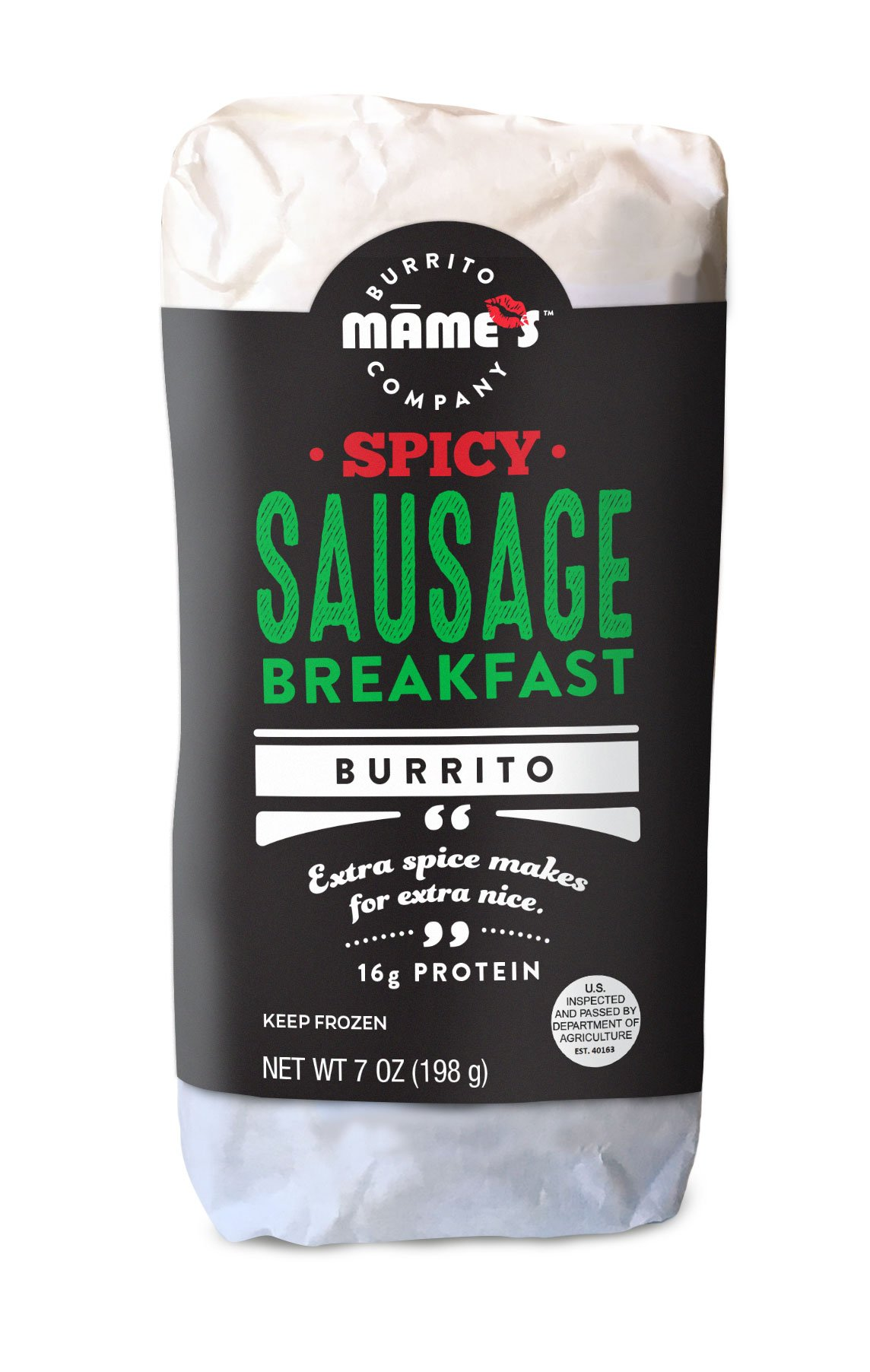 Mame's Burrito Company Spicy Sausage Breakfast Burrito, 7 Ounce (Pack of 12)