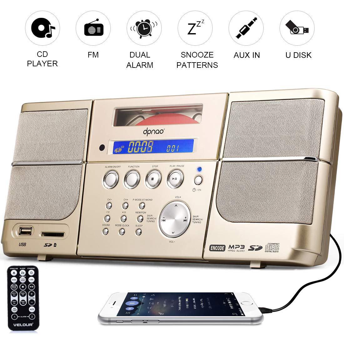 Portable Cd Playerboombox Dpnao With Headphones Jack Mdisk Headset Super Boom J278 Fm Radio Clock Usb Sd And Aux Gold For Kids Laptop Electronics