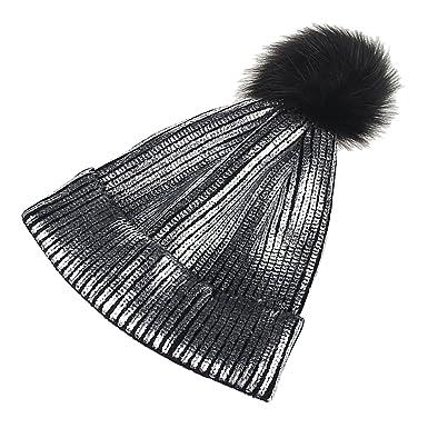665a7c27c550 MagiDeal Bonnet Pompon Femme Fourrure Dorée Brillant Tricot Laine Chaud -  Argent, 40×56