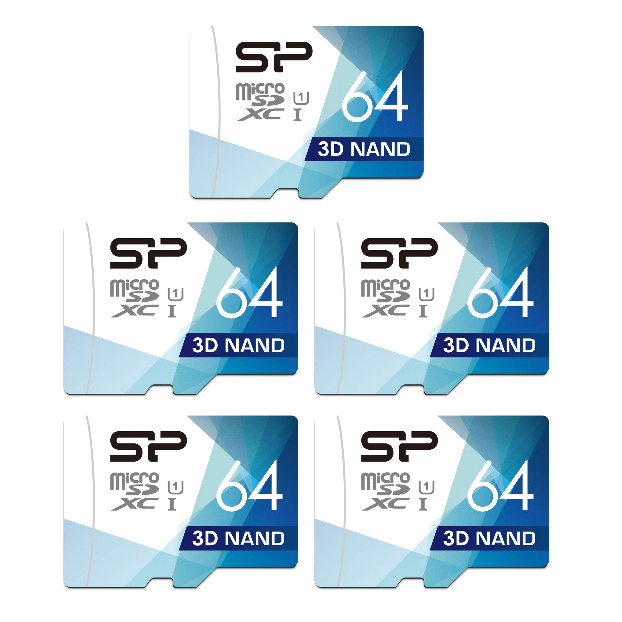 Silicon Power 64GB 5-Pack High Speed MicroSD Card with Adapter by SP Silicon Power
