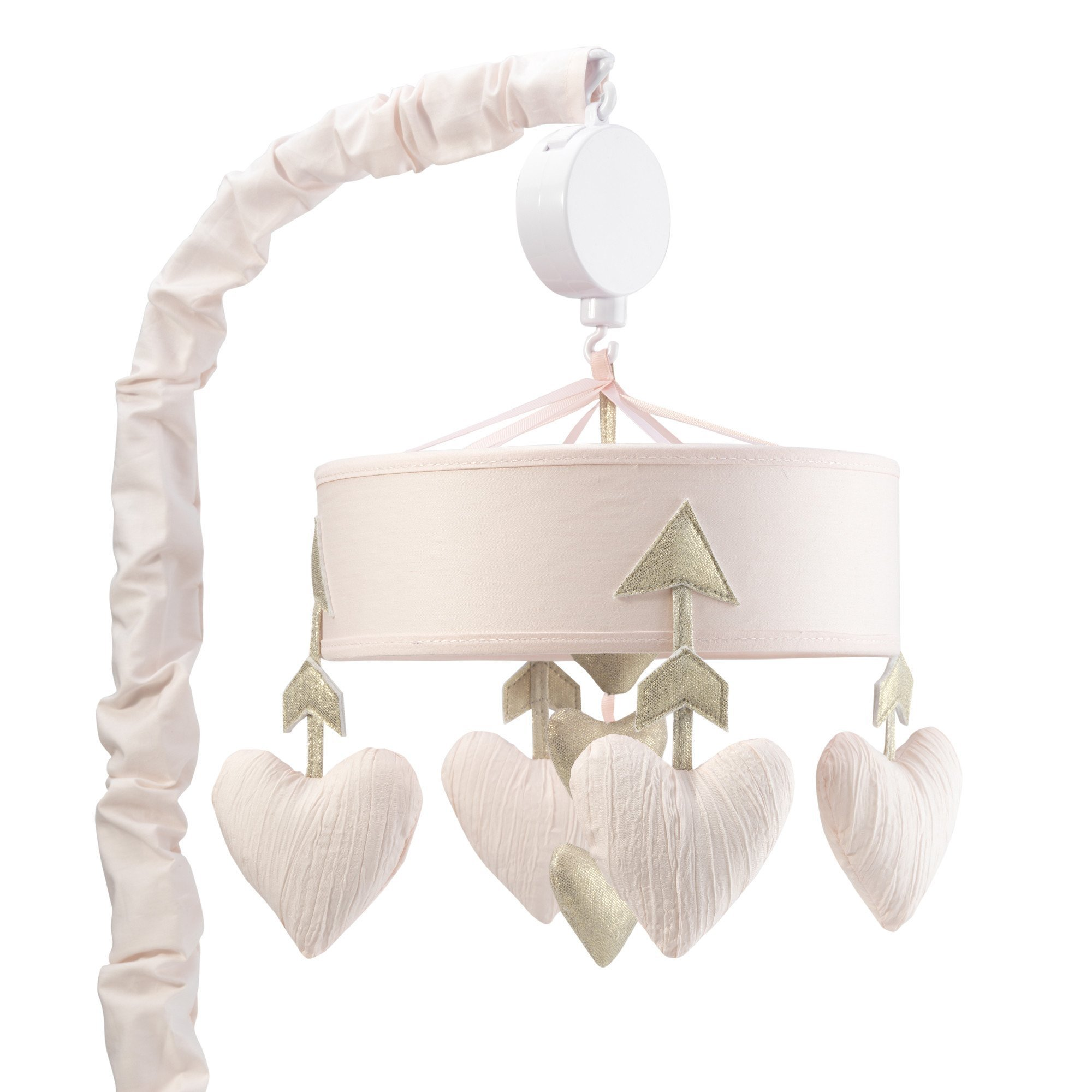 Lambs & Ivy Baby Love Musical Mobile Toy - Pink/Gold Hearts