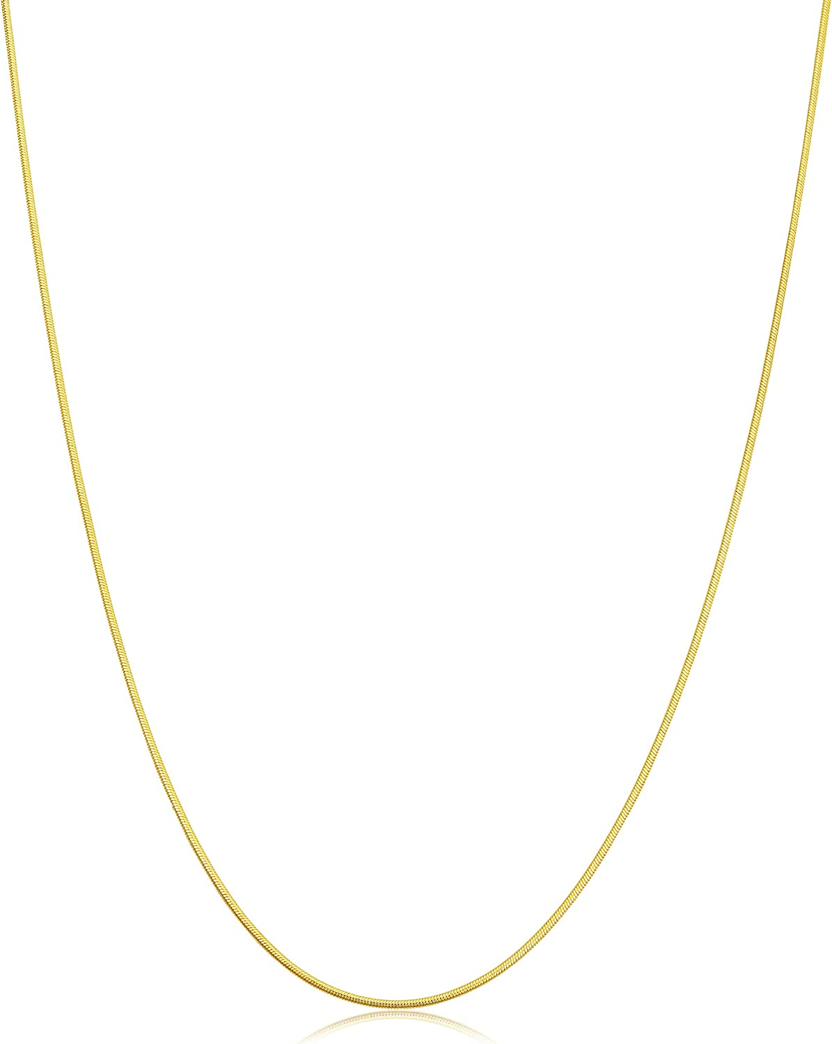 10K Yellow Gold Snake Chain 1mm wide Necklace Lobster Claw Clasp 16 inch