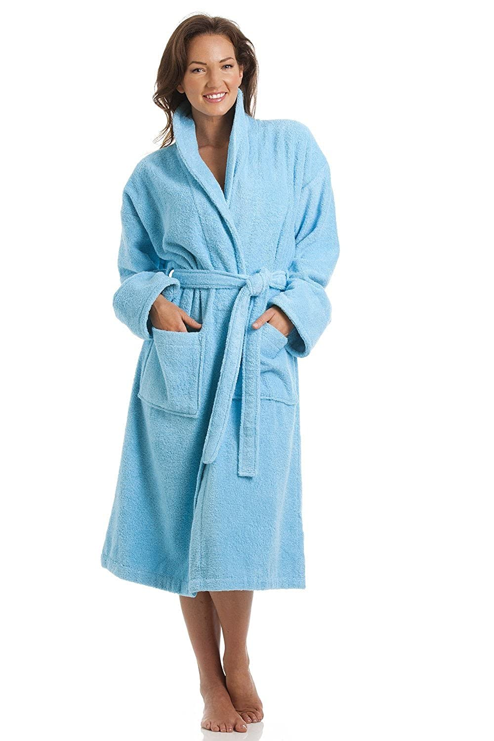 Camille Womens Luxury Blue 100% Cotton Towelling Bath Robe