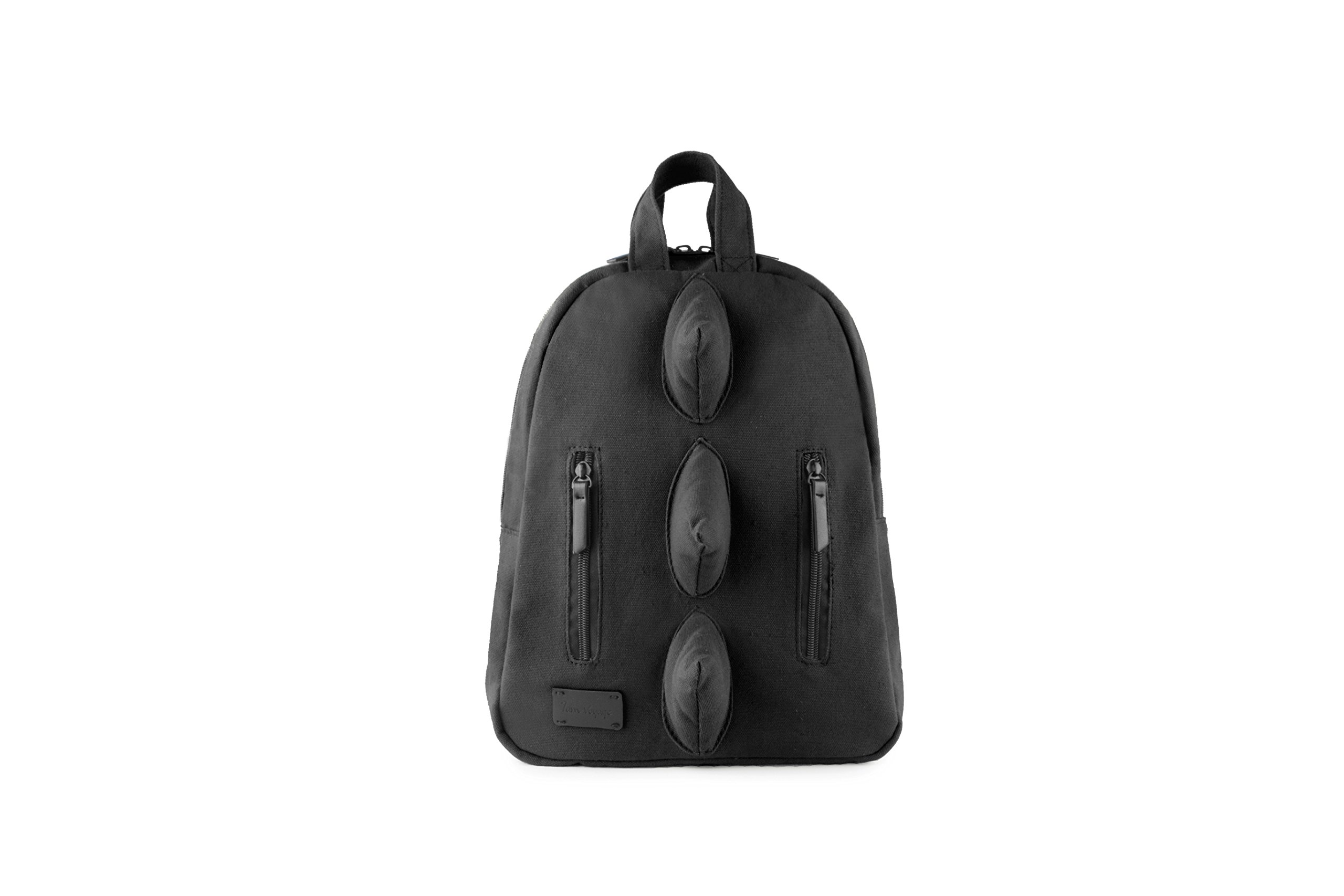 7AM Voyage Mini Dino Cotton Backpack, Unisex Toddlers, Kids and Teens School Backpack, Machine Washable and Durable (Black)