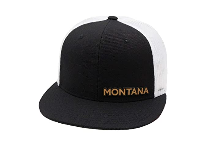 7c1a01ee790 Branded Bills 'The Montana' Leather Patch Snapback Hat Flat Trucker -  OSFA/Black/White at Amazon Men's Clothing store: