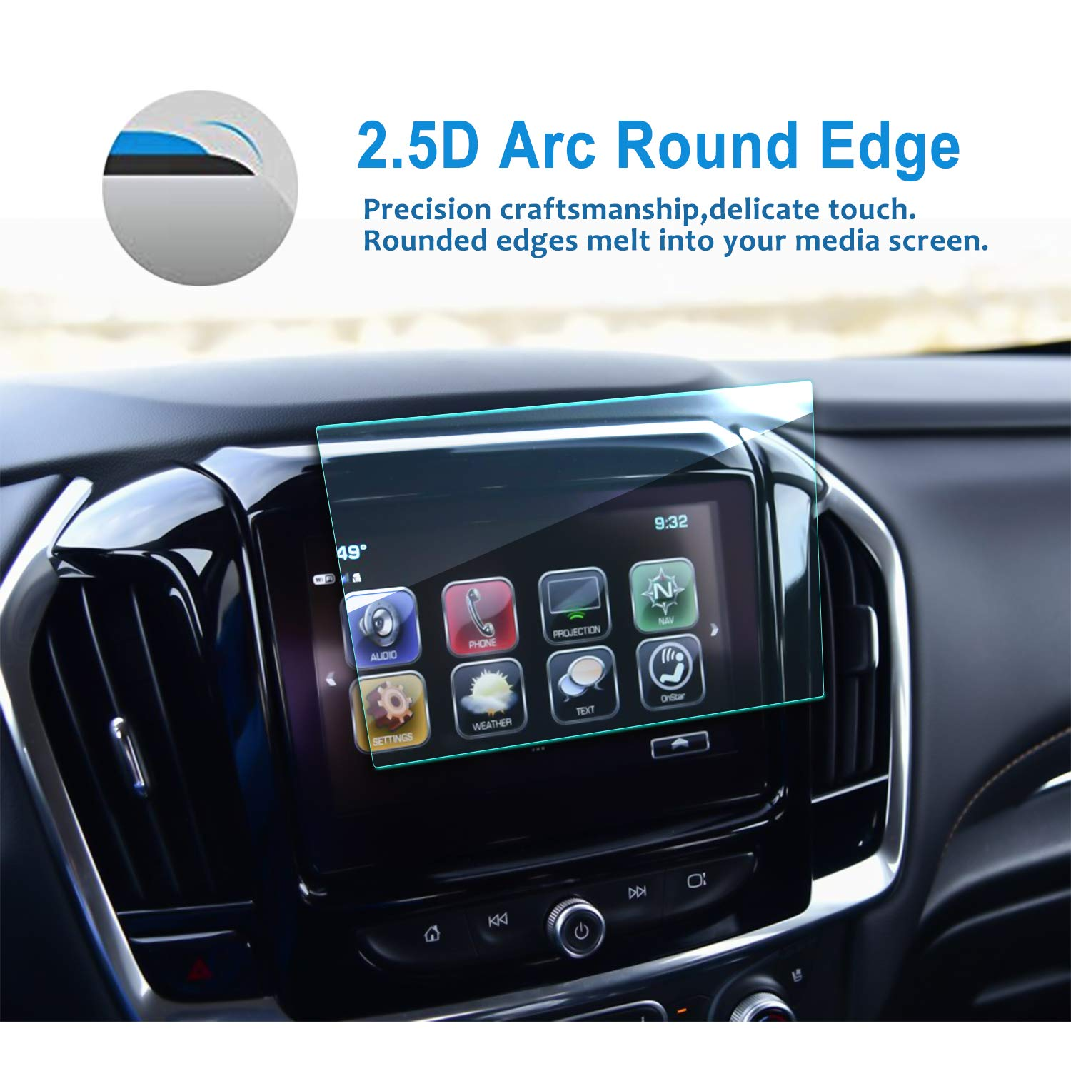 Upgrade LFOTPP Tempered Glass 9H Hardness Car Infotainment Display Center Touch Protective Film Scratch-Resistant LiFan 2018 2019 Chevrolet Traverse 8-Inch MyLink Car Navigation Screen Protector