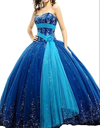 Fanciest Womens Appliques Ball Gown Prom Dresses 2016 Quinceanera Dress Blue US2