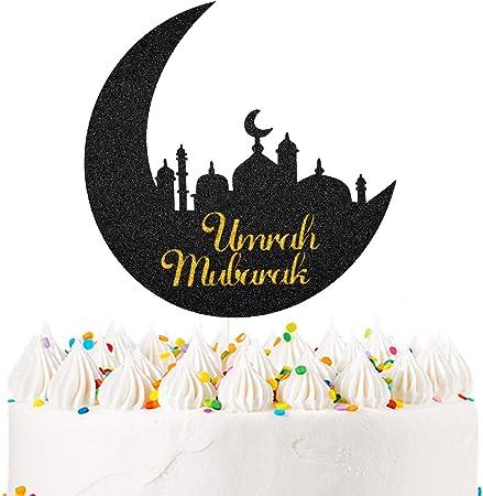 Black Glitter Hajj Mubarak Cake Topper 2021 Eid Festival Muslim Islam Party Decorations Hajj Mubarak Umrah Mubarak Islamic Party Decoration Supplies