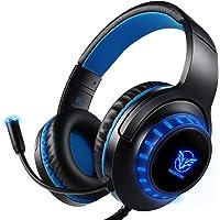 Cuffie per giochi per PS4, Cuffie per giocatori a LED (blu) con microfono con cancellazione del rumore per PC, Mac, Playstation 4, Xbox One