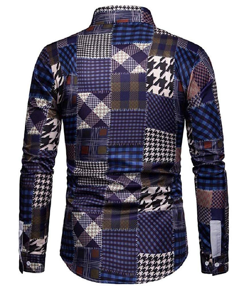 pipigo Mens Long Sleeve Plaid Slim Lapel Top Button Down Shirts