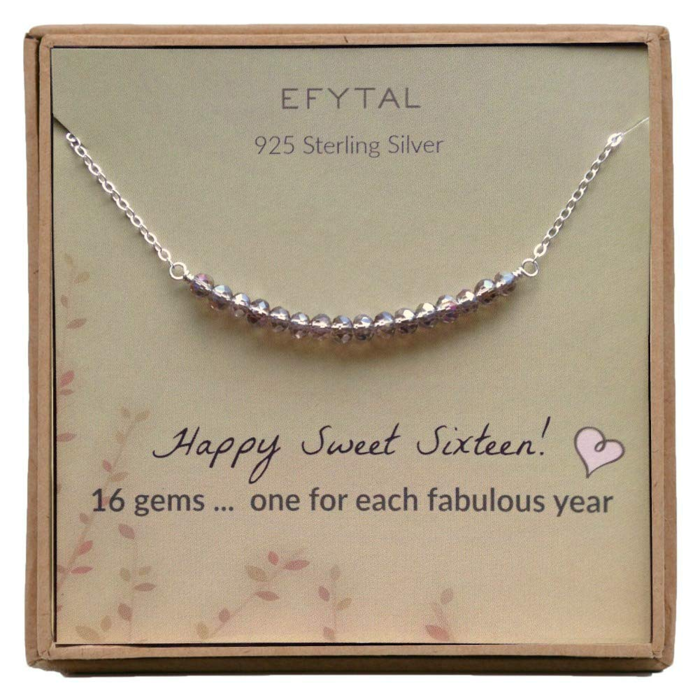 Amazon EFYTAL 16th Birthday Gifts For Girls Sterling Silver Sweet 16 Necklace Year Old Girl Jewelry Gift Idea